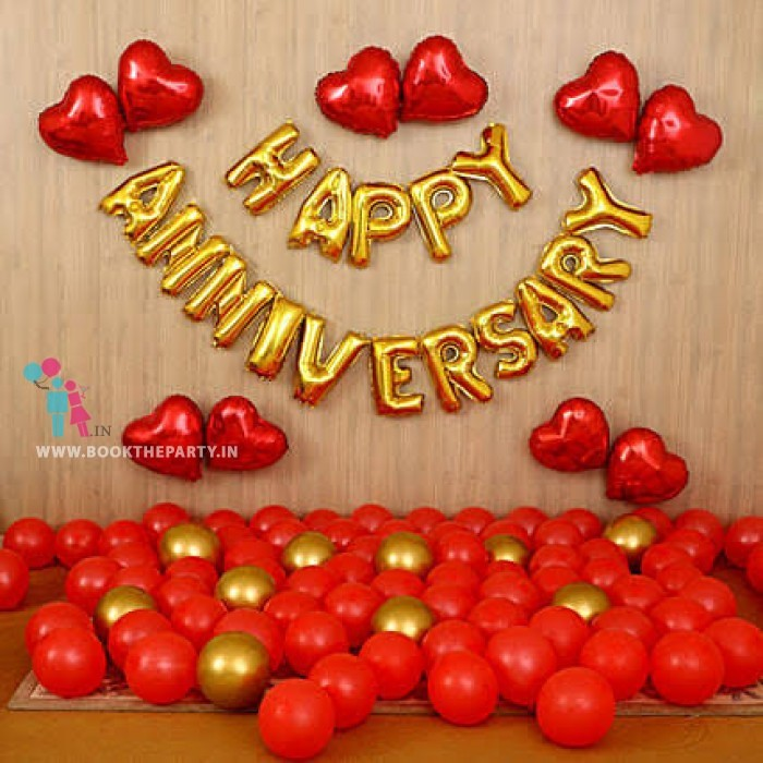 Happy Anniversary and Heart shaped Foil Balloons