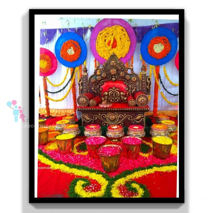 Maharaja Chair with Gangalams and Rangoli Design