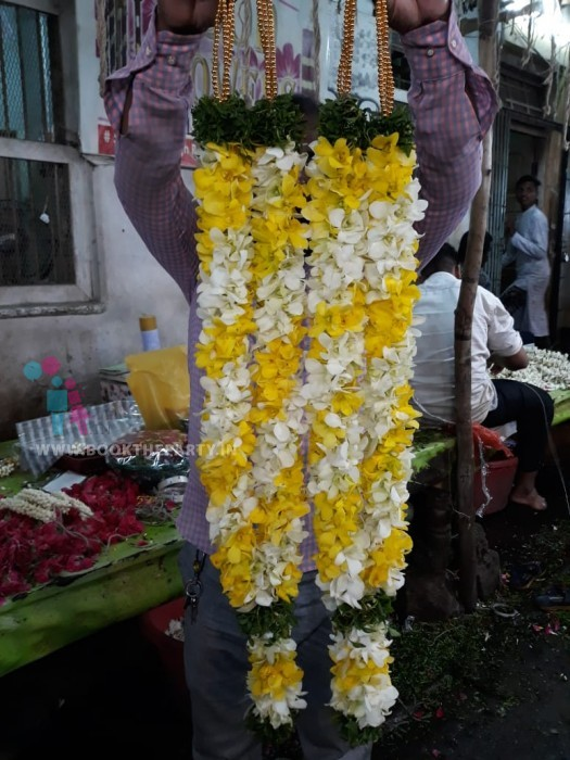 White & Yellow Orchid Garland