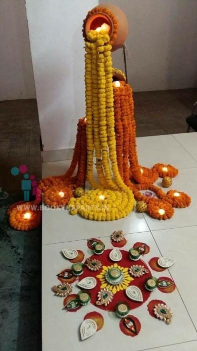Pots with Marigold Flowers Rangoli