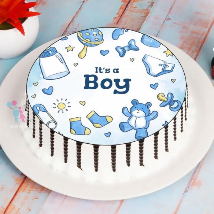 Welcome Boy Photo Cake