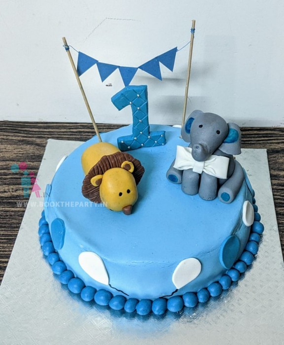 Tiger and Elephant First Birthday Cake