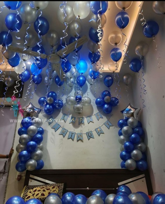 Blue and White balloons with Banner