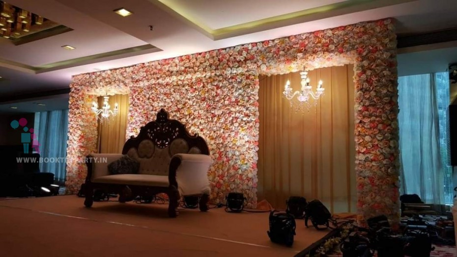 Artificial Flower Pasting with Chandeliers