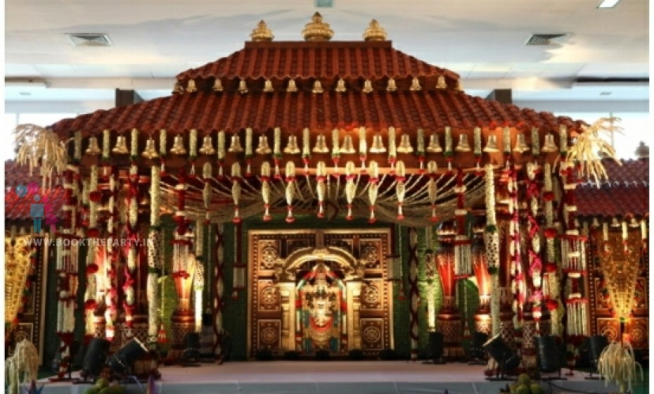 Kerala Mandapam with Bells and Coconut Backdrop