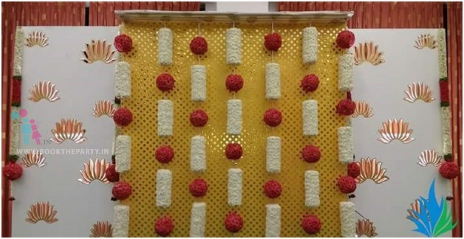 Yellow Drapes with Rose Balls
