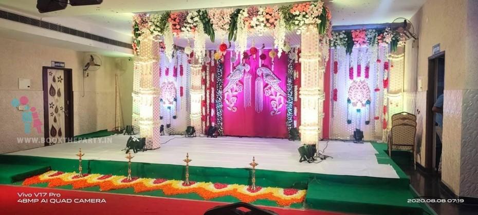 Pink & Gold Drapes Mandapam