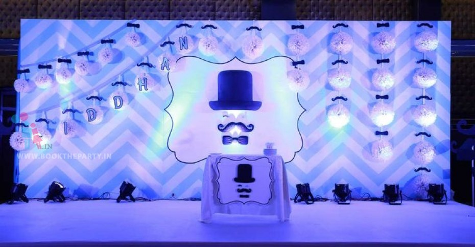 Moustache Theme with Pom Poms and Name