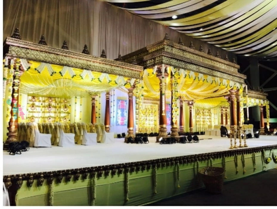 Cut Jalli Mandapam with Yellow Drapes