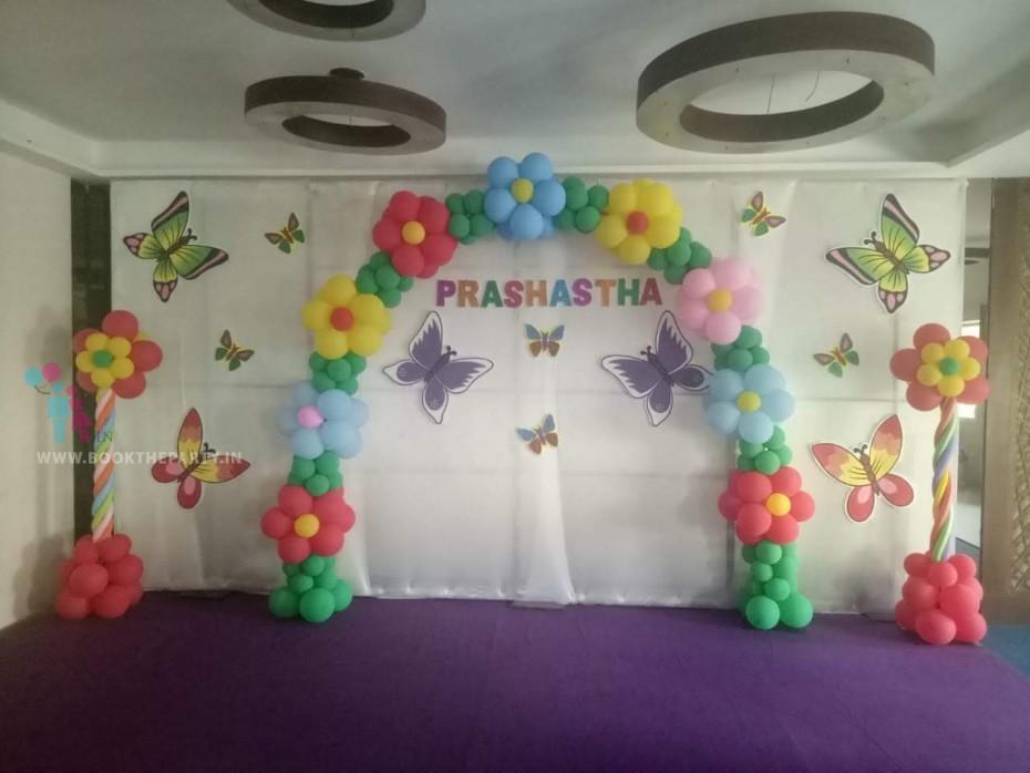 White Drapes with Balloon Arch theme